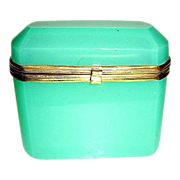 SOLD French 19th Century green opaline box