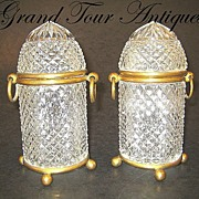 SOLD Pair Napoleon III French cut-crystal boxes