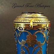 SOLD French Palais Royal circa 1860 Blue Opaline Glass Box