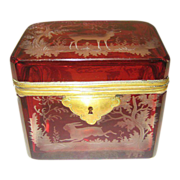 SOLD Bohemian circa 1850 ruby glass box engraved with deers