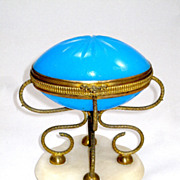 SOLD Large Palais Royal Blue Opaline Egg on Marble Base