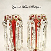 SOLD Pair Bohemian 19th Century red and white Overlay Lustres