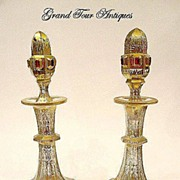 SOLD Pair Bohemian 19th Century Enamelled 'Jewelled' Scent Bottles