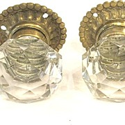 SOLD Pair French 19th Century Cut Crystal Door Knobs