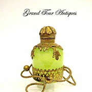 SOLD A French 19th Century Green Opaline Scent bottle and base