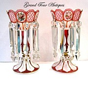 SOLD Pair of Cranberry Overlay Glass Lustres