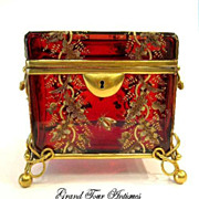 SOLD Stunning MOSER 19th Century Rich Ruby Red Casket