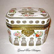 SOLD Stunning Bohemian circa 1860 White Overlay box