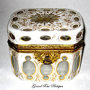 SOLD Elegant Bohemian 19th Century White Overlay Casket