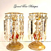 SOLD Stunning Pair Bohemian 'Jeweled' Lustres CandleHolders. Circa 1860