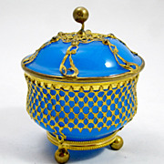 SOLD French Blue Opaline Glass Bowl and Cover Circa 1850