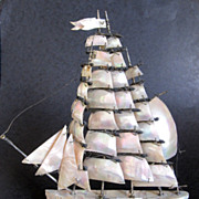 SOLD Huge Antique Mother of Pearl Boat Inkwell