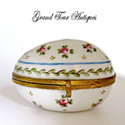 SOLD Antique French Porcelain Box with hand Painted Roses