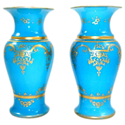 SOLD Pair of Early 19th Century BACCARAT Blue Opaline Vases with Gilding