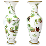 SOLD Pair Baccarat Opaline Vases, 19th Century