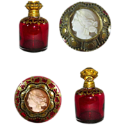 SOLD Palais Royal Ruby Glass Perfume Bottle with Cameo