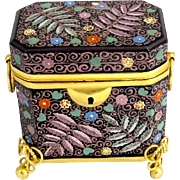 Antqiue Bohemian Black Opaline Glass Enameled Casket