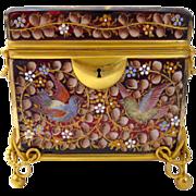 SOLD Antique Moser Glass Enameled Casket