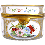 Antique Bohemian Overlay Glass Flower Casket Box