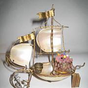 SOLD Palais Royal Mother or Pearl Sewing Boat