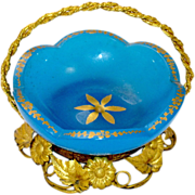 Antique French Opaline Glass Basket