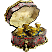 RARE Palais Royal Boulle Casket with 4 Opaline Glass scent Bottles