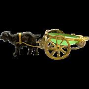 SOLD Palais Royal Green Opaline Goat Cart