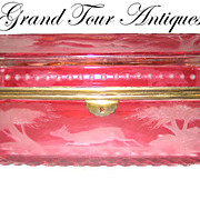 SOLD Magnificent Bohemian 19th Century cranberry engraved glass box