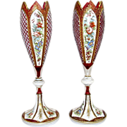 Antique Pair of Bohemian Overlay Hand Painted Vases