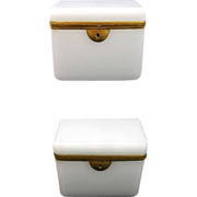 SOLD Antique French White Opaline Casket with Smooth Mounts