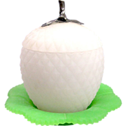 SOLD Antique French Opaline 'Apple' Shaped Box with Silver Finial.
