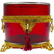 Antique French Ruby Red Oval Casket Box