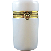 SOLD Antique French White Opaline Casket with Bow Clasp