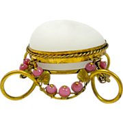 SOLD Palais Royal Antique Opaline Glass Egg Box with Pink Opaline Beads