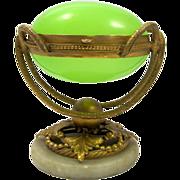 SOLD Antique Green Opaline Glass 'Egg' Box