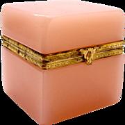 SOLD Antique Pink Opaline Glass Casket Box
