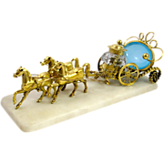 SOLD Large French Palais Royal Dore Bronze Ink Well & Opaline Glass Cart