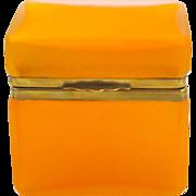SOLD Unusual Antique Tangerine Glass Casket