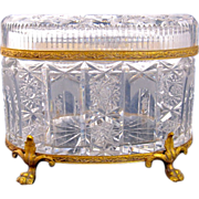 SOLD Large Antique French Cut Crystal Casket Box with Fine Mounts