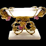 SOLD Palais Royal White Opaline Glass Dish Marble Base