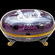 Unusual Antique Amethyst Glass Mary Gregory Casket Box