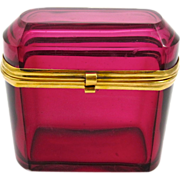 Antique French Cranberry Glass Casket Hinged Box