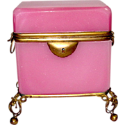 SOLD Rare Antique French Pink Opaline Casket Box