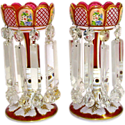 Pair of Antique Bohemian Red Overlay Glass Lustres with Unusual Drops