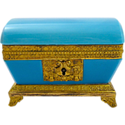 SOLD Antique French Charles X Opaline Glass Casket