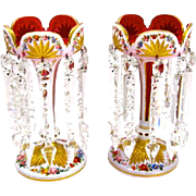 Antique Pair of Red and White Overlay Glass Lustres - Super !