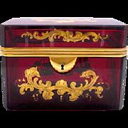 Large Bohemian Red Enamelled Glass Casket Box