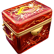 Antique Cranberry Glass Moser Enamelled Casket Box