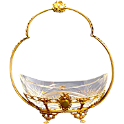 Antique Baccarat Cut Crystal and Dore Bronze Basket