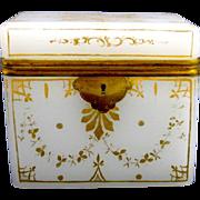 Antique French White Opaline Casket Box